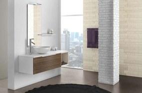 Set mobilă baie Mactan 5 piese, 190x46x135 cm, lemn/ piatra/ sticla/ rasina, multicolor