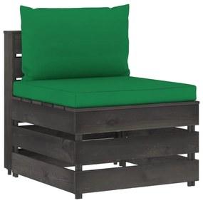 3068125 vidaXL Canapea de mijloc modulară cu perne, gri, lemn tratat