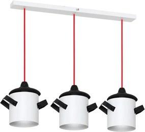 Lustră cu cablu roșu Glimte Overhung Tres Poti I White, alb - negru