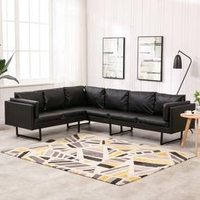 288170 vidaXL Canapea de colț, negru, piele ecologică