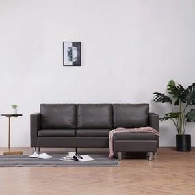 282206 vidaXL Canapea de 3 locuri cu perne, gri, piele ecologică