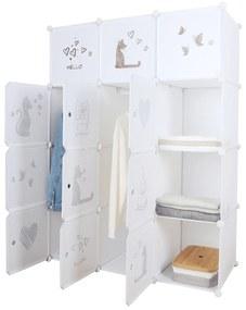 Dulap modular pentru copii, model alb / maro pentru copii, KITARO