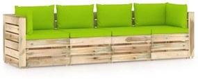 3074614 vidaXL Canapea de grădină cu 4 locuri, cu perne, lemn verde tratat