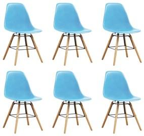 248267 vidaXL Scaune de bucătărie, 6 buc., albastru, plastic