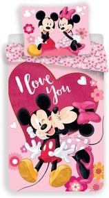 Lenjerie de pat copii Jerry Fabrics Mickey and Minnie Kiss micro, 140 x 200 cm, 70 x 90 cm