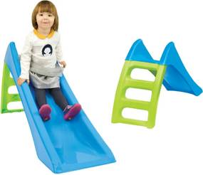 Tobogan de Gradina pentru Copii Fun Slide, cu Scara si Functie pentru Conectare Furtun de Apa, 116cm, Albastru