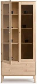 Vitrină cu 2 uși fabricată manual din lemn masiv de mesteacăn Kiteen Matinea
