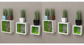 Rafturi cub de perete, 6 buc., alb și verde