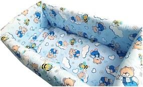 Lenjerie de pat Maxi Ursi cu albine pe albastru 120x60 cm
