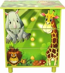Dulap cu sertare pentru copii ciu tema unor animale din junglă