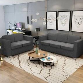 274214 vidaXL Set canapele, 2 piese, gri închis, material textil