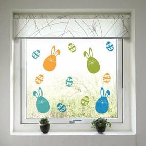 Paști decorare pe fereastră - colorat iepurași și ouă de ouă Iubitorii colorați și ouăle de Paște 60x40