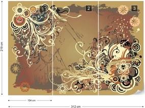 Fototapet GLIX - Flowers Abstract Swirl  + adeziv GRATUIT Tapet nețesute - 254x184 cm