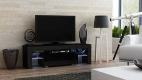 Mazzoni Masă RTV MILANO 130 + LED neagră, cu sertar negru