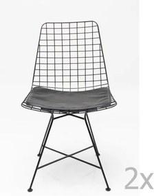 Set 2 scaune din oțel Kare Design Grid, negru