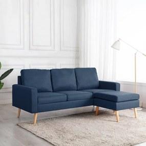 288727 vidaXL Canapea cu 3 locuri și taburet, albastru, material textil
