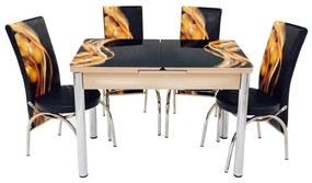 Set masa mercan cu 4 scaune , panglici negru