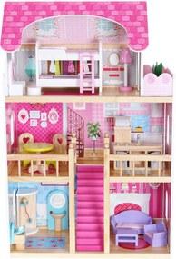 Casa de papusi din lemn resedinta roz