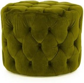 Taburet cu înveliș de catifea VIDA Living Perkins, ø 55 cm, verde
