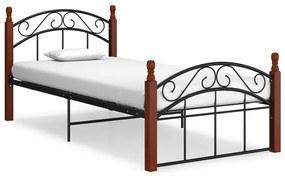 324918 vidaXL Cadru de pat, negru, 90x200 cm, metal și lemn masiv de stejar