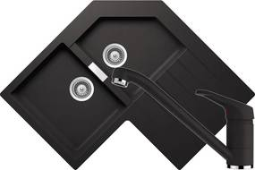Set Chiuveta Schock Primus C-200 840 x 840 mm si Baterie Schock Cosmo Nero Cristalite