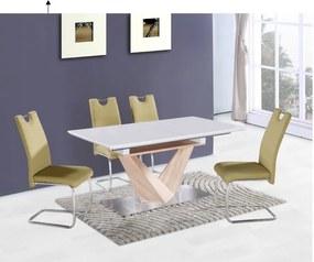 Masă dining, extensibilă, MDF + oţel, alb extra lucios HG/stejar sonoma, DURMAN