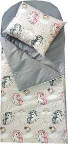 Deseda - Sac de dormit buzunar de iarna 0-1 ani  Unicorni cu gri
