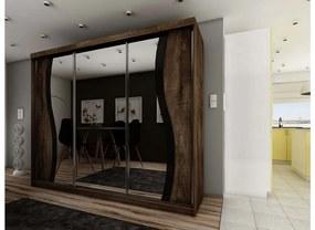 Expedo Dulap dormitor cu oglindă TALIA 9, 250x200x63, cenușă închisă