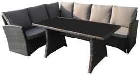 Set mobilier cu coltar ratan premium, Caprice, maro