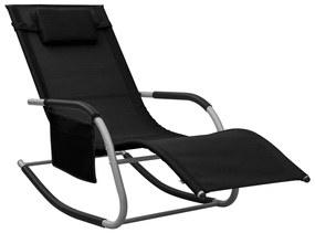 310505 vidaXL Șezlong, negru și gri, textilenă