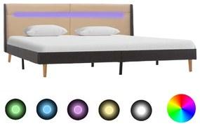 286702 vidaXL Cadru de pat cu LED, crem, 180 x 200 cm, material textil