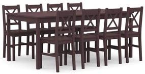 283389 vidaXL Set mobilier de bucătărie, 9 piese, maro închis, lemn de pin