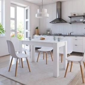 800438 vidaXL Masă de bucătărie, alb foarte lucios, 120 x 60 x 76 cm, PAL