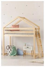 Cadru pat supraetajat din lemn de pin, în formă de căsuță Adeko Mila DMPBA, 80 x 200 cm