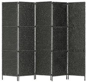247352 vidaXL Paravan cameră cu 5 panouri, negru, 193x160 cm, zambilă de apă