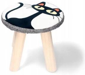 Scaun taburet pentru copii, model pisica, 28x28 cm