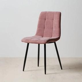 Scaun Roz din Material Textil 43cm IXIA - Textil Roz Lungime (43cm) x Latime (56cm) x Inaltime (87.5cm)