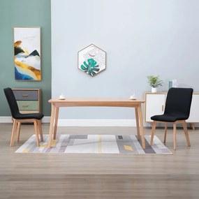 248920 vidaXL Scaune de bucătărie 2 buc. negru, textil & lemn de stejar masiv