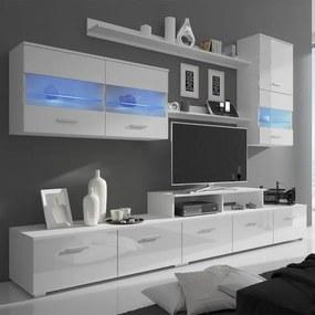 Vitrină lucioasă cu unitate TV și iluminare LED, 7 buc, 250cm, alb