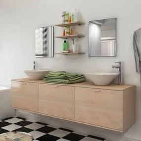 Set mobilier baie 10 piese cu chiuvete și robinete incluse, Bej