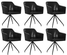 276066 vidaXL Scaune de bucătărie pivotante, 6 buc., negru, piele ecologică
