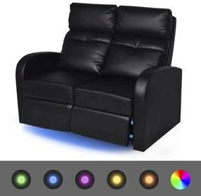 243599 vidaXL Fotoliu rabatabil cu 2 locuri, LED, piele artificială, negru