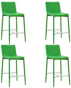 279687 vidaXL Scaune de bar, 4 buc., verde, piele ecologică