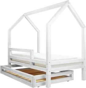 Set sertar și 4 picioare suplimentare pentru pat Benlemi Funny, alb, 80 x 160 cm
