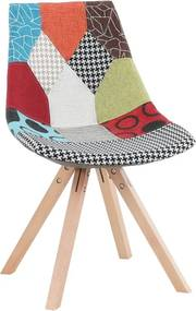 Scaun, ţesătură patchwork/lemn, KIMA NEW TYP 2