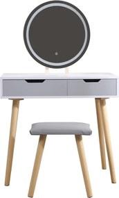 Set Adeline, Masă de toaletă pentru machiaj cu oglindă iluminată LED, control touch, 2 sertare, scaun, Gri