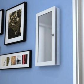 241099 vidaXL Dulap de perete din lemn cu oglindă pentru bijuterii