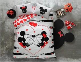Lenjerie de pat cu cearșaf din bumbac, pentru pat dublu Tac Mickey & Minnie Amour, 200 x 220 cm