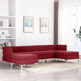 3052827 vidaXL Set de canapele, 6 piese, roșu vin, material textil