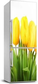 Autocolant frigider acasă Lalele galbene